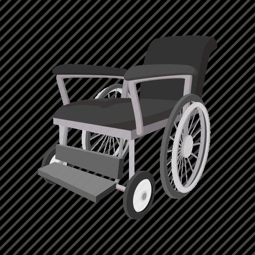 care, cartoon, chair, disabled, hospital, wheel, wheelchair icon