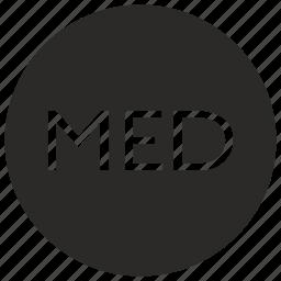 label, med, medical, medicine, round icon