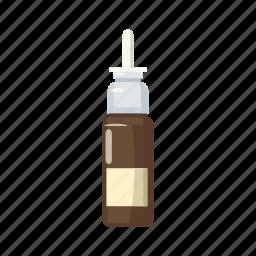 bottle, brown, cartoon, medical, medicine, pharmacy, spray icon