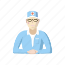 cartoon, doctor, hospital, medical, medicine, professional, sitting icon