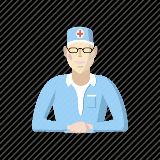 cartoon, doctor, hospital, medical, medicine, professional, sitting icon