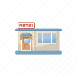 building, cartoon, drugstore, medical, medicine, pharmacy, shop icon