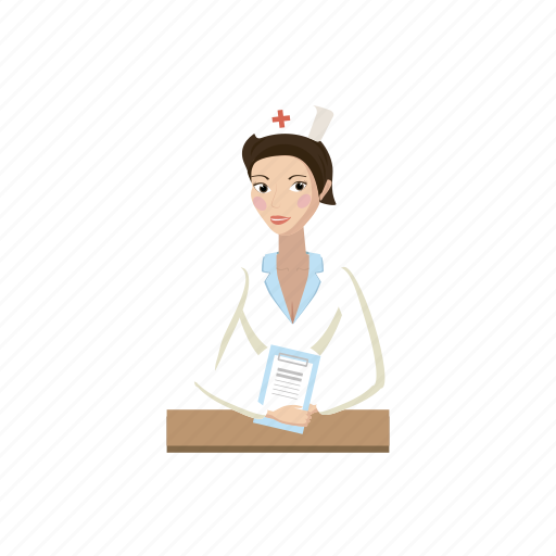 cartoon, health, hospital, medicine, nurse, patient, woman icon