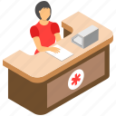 appointment, clinic, front desk, healthcare unit, hospital reception, reception icon