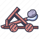 medieval, catapult, stone, weapon, history, castle icon