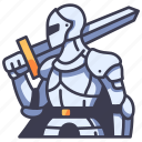 medieval, warrior, armor, knight, sword, middle, history