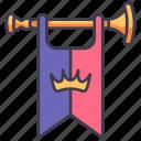 medieval, kingdom, king, royal, horn, flag, trumpet icon