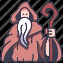 magic, medieval, wizard, old, fantasy, staff, magician icon