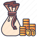 medieval, wealth, leather, money, bag, coin icon