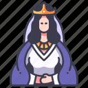 medieval, crown, queen, royal, fantasy, history icon