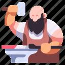 medieval, anvil, blacksmith, iron, craft, hammer, forge icon