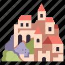 medieval, kingdom, stone, architecture, building, landscape, castle icon