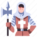 medieval, warrior, knight, weapon, soldier, history icon