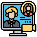 call, communicate, conference, contact, video icon