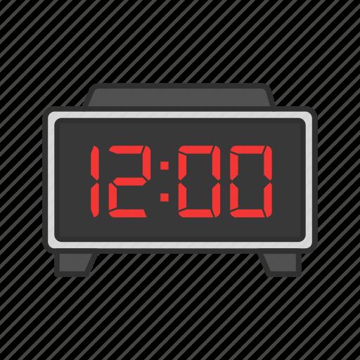 alarm clock, clock, digital clock, midnight icon
