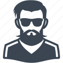 beard, hipster, man, sunglasses icon