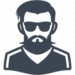 account, avatar, beard, face, hipster, male, people, sunglasses icon