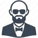 avatar, elegant, glasses, male, man, user icon