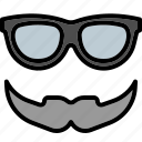 beard, glasses, hipster, item, men, mustache icon