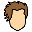 men, hair, hairstyle, long, pony icon