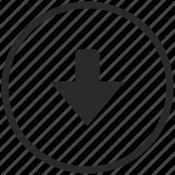 arrow, bottom, down, function icon
