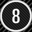 eight, menu, navigation, number icon