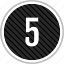 five, menu, navigation, number icon
