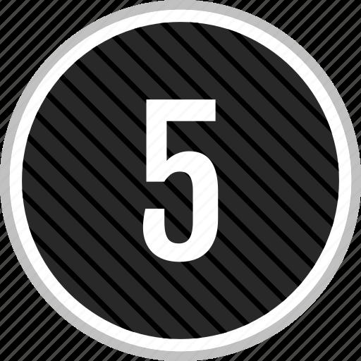 five, menu, navigation, number icon