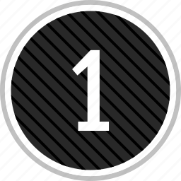 count, menu, number, one icon