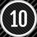 menu, navigation, number, ten icon