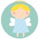 angel, christmas, holiday, little angel, santa, xmas icon