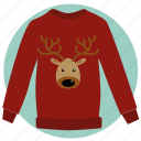 christmas, gift, hipster, pullover, sweater with deer, winter, xmas icon