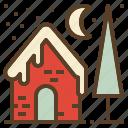 christmas, house, snow, winter, xmas