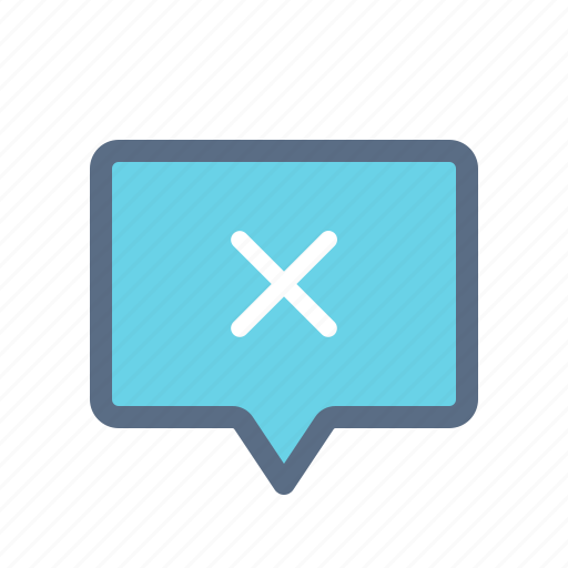 chat, conversation, cross, delete, message, remove, uncheck icon