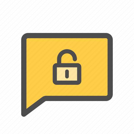 chat, conversation, message, unencrypted, unlocked, unsecured icon