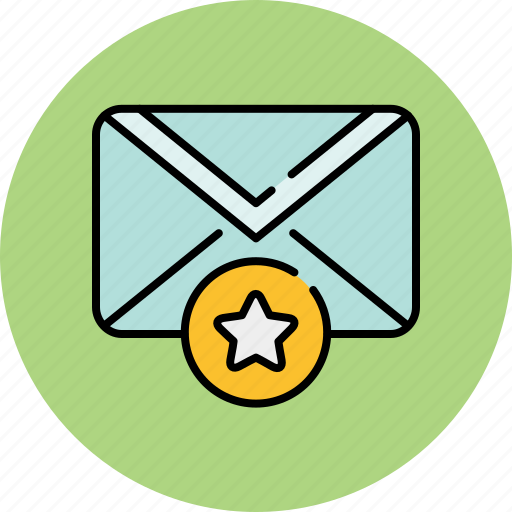bookmark, communication, email, envelope, favourite, message, star icon