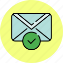 approve, communication, complete, confirm, email, envelope, message icon