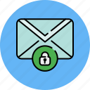 communication, email, envelope, lock, message, privacy icon