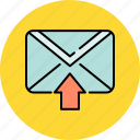 arrow, communication, email, envelope, message, receive, up icon