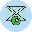 communication, email, envelope, find, magnifier, message, search icon