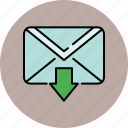 arrow, communication, down, email, envelope, message, send icon