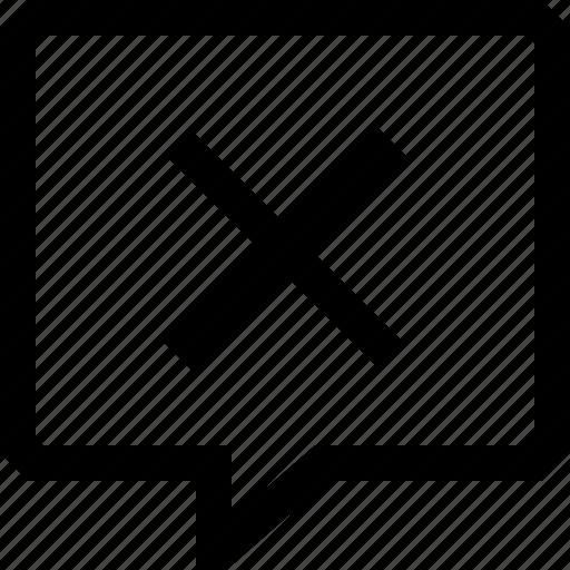 cancel, chat, cross, dialogue, message, no, speech icon