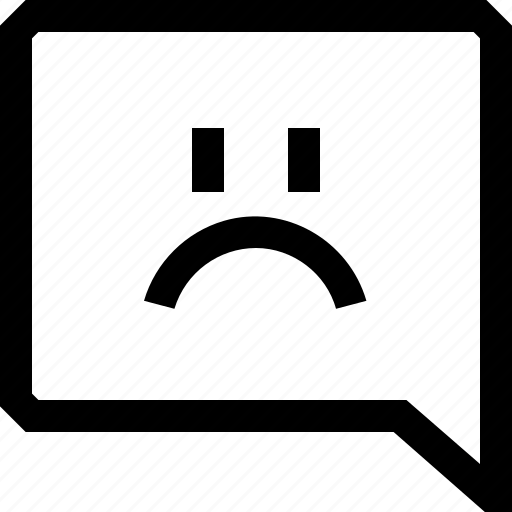angry, bubble, chat, dialogue, face, message, sad icon