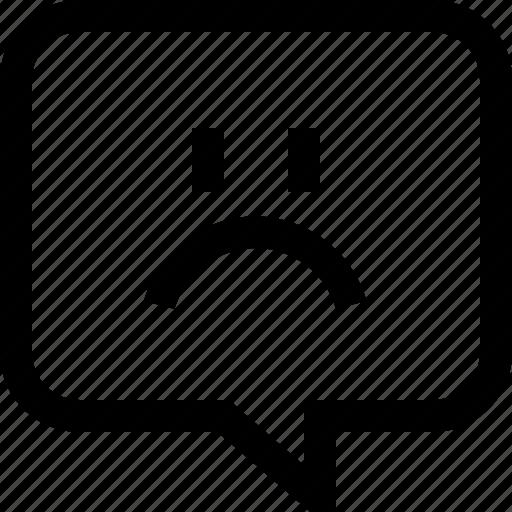 bubble, chat, dialogue, emotion, face, message, sad icon
