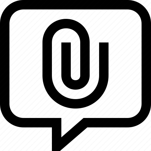 attachment, bubble, chat, dialogue, link, message, speech icon