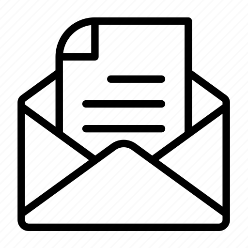 envelope, letter, opened, text icon