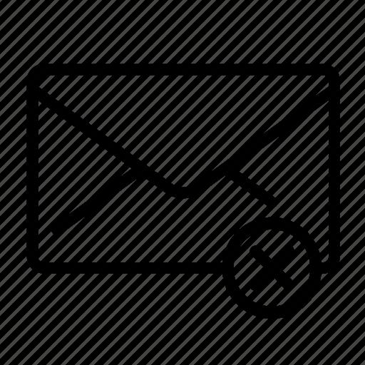 delete, envelope, mail, message, remove icon