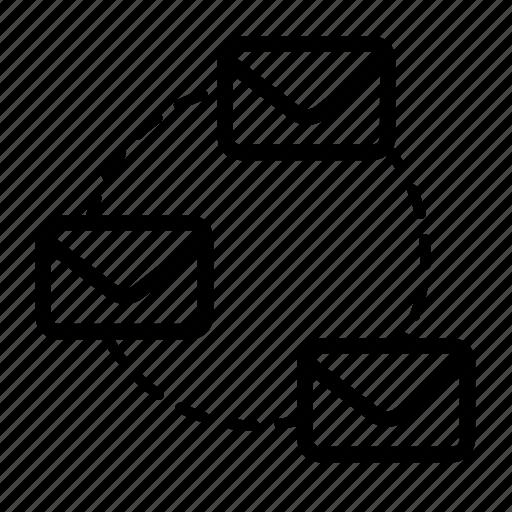 center, envelope, forward, mail, message, round icon
