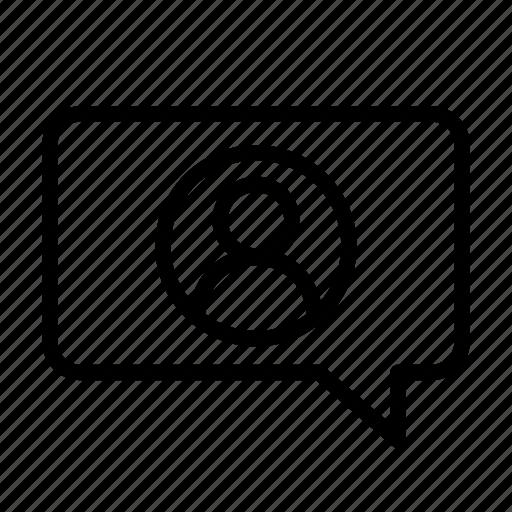 bubble, contact, dialogue, info, message, personal, speech icon