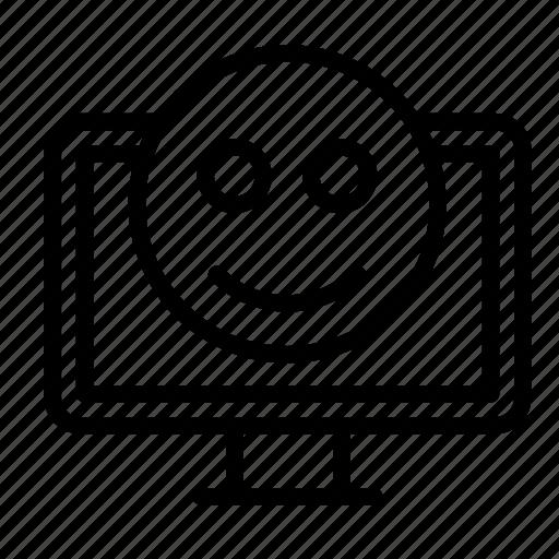 chat, display, emoji, monitor, smile icon